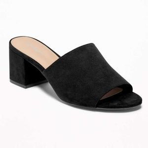 Black Vegan/Faux Suede Block-Heel Mule Sandals